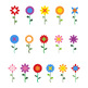 16 Flowers Clipart, Floral Clipart, Cartoon Flowers, Spring, Summer, Vector, PNG