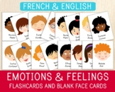 16 French-English Emotions Flashcards & 16 Blank Face Card