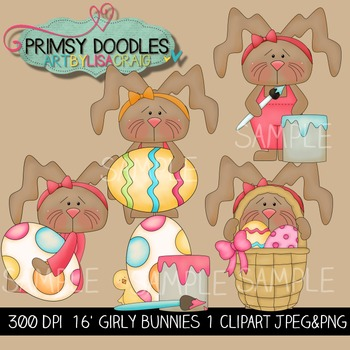 16-Girly Bunnies 1 Clipart Collection