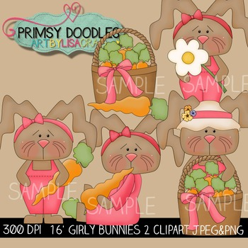 16-Girly Bunnies 2 Clipart Collection