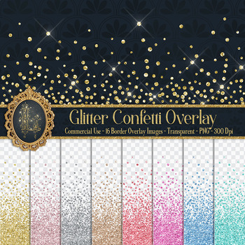 16 glitter confetti border overlay papers 16 glitter confetti border overlay papers