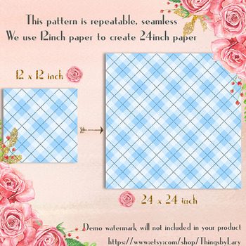 16 Glitter Gingham Pattern Digital Papers 12 x 12 inch