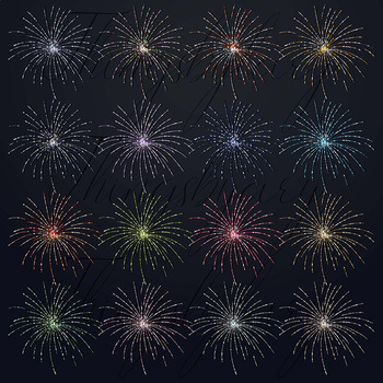 16 Glitter Glowing Fireworks New Year Eve PNG Overlay Images