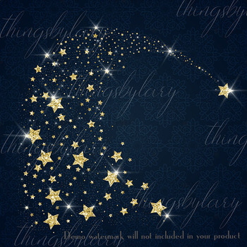 16 Glowing Glitter Comet Star Galaxy Gold Rain Comet Star PNG Images