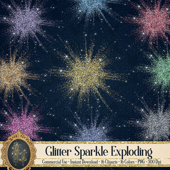 16 Glowing Glitter Explode Glitter Confetti Gold Dust PNG Images