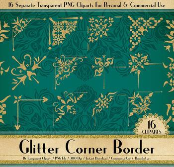 16 Gold Glitter Corner Borders, Corner Wedding Invitation