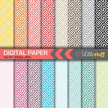 16 Greek Key Digital Papers, Value Priced Greek Key Digital Background