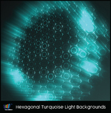 16 Hi-Res Hexagonal Turquoise Light Backgrounds