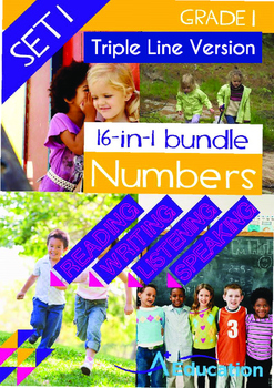 16-IN-1 BUNDLE - Numbers (Set 1) Grade 1 ('Triple-Track Writing Lines')