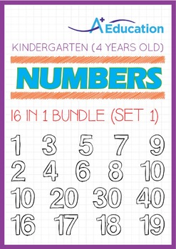 16-IN-1 BUNDLE - Numbers (Set 1) - Kindergarten, K2 (4 years old)