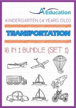16-IN-1 BUNDLE - Transportation (Set 1) - Kindergarten, K2 (4 years old)