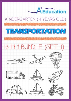 16-IN-1 BUNDLE - Transportation (Set 1) - Kindergarten, K2 (4 years old)