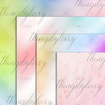 16 Iridescent Magical Unicorn Mermaid Foil Digital Papers