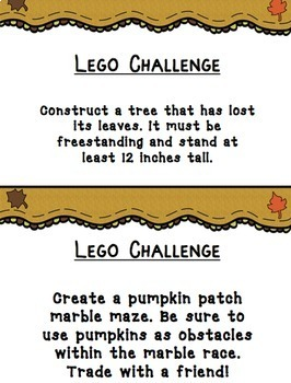 16 LEGO STEM / STEAM Fall Challenges