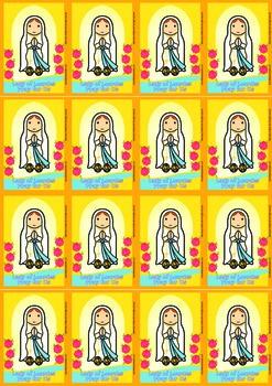16 Lady of Lourdes Flash Cards - Catholic