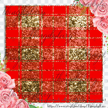 16 Luxury Gold and Red Glitter Plaid Tartan Digital Papers