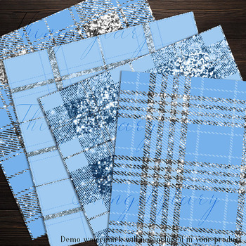 16 Luxury Silver and Light Blue Glitter Plaid Tartan Papers