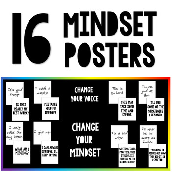 16 MINDSET POSTERS - Create a Growth Mindset in Your Classroom