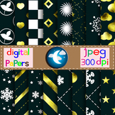 16 Navy Digital Papers,Backgrounds with Gold and White Pattern