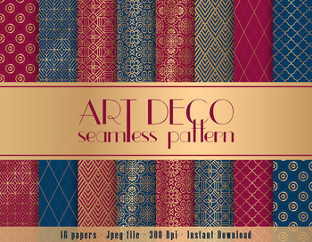 16 Navy and Burgundy Art Deco Seamless Digital Papers