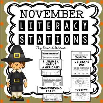 {16} November Literacy Stations (Thanksgiving, Veterans Day, Turkeys, & More!)