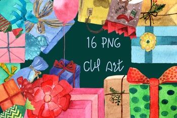16 PNG Watercolor Presents Clip Art