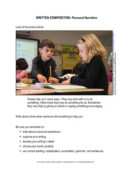 16 Personal Narrative Prompts (STAAR format) for Writing