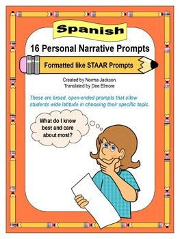 16 Personal Narrative Prompts (STAAR format) for Writing (Spanish)