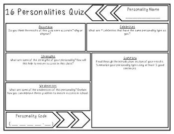graphic regarding Personality Quiz Printable identified as 16 Personalities Worksheet