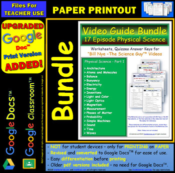 A Differentiated Worksheet Bundle Quiz Ans Bill Nye Physical Science Part 1