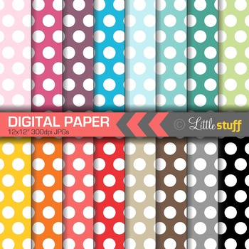 16 Polka Dot Digital Papers, Value Priced Large Dot Digital Background