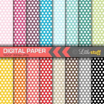 16 Polka Dot Digital Papers, Value Priced Small Dot Digital Background