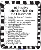 16 Positive Behavior Skills for the Classroom