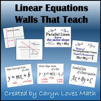 Linear Equations-Graphs-Slope-Parallel-Perpendicular-16 Posters-Walls That Teach