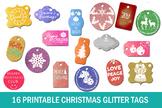 16 Printable Christmas Glitter Tags- Holiday Glitter Tags