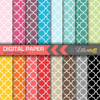 16 Quatrefoil Digital Papers, Value Priced Quatrefoil Digital Background