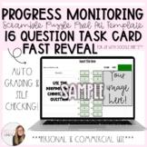 16 Question Fast Reveal Progress Monitoring Task Card Scra