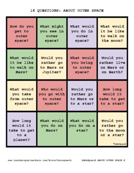 16 Questions:  A Conversation Game-About Outer Space