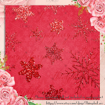 16 Red Glitter Christmas Printable Digital Papers 12 x 12 in
