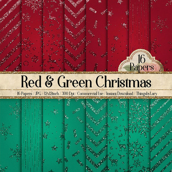 16 Red and Green Glitter Christmas Printable Digital Papers