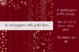 16 Red digital papers with gold stars, Christmas Papers