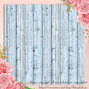 16 Rose Quartz And Serenity Rustic Wood Digital Papers