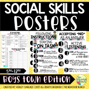 16 SOCIAL SKILLS POSTERS {5th-12th} Includes Checklist & Observation Form