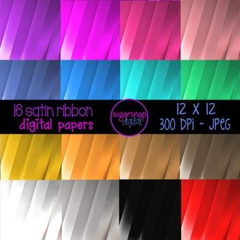 16 Satin Ribbon Digital Backgrounds Scrapbooking Paper