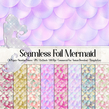 16 Seamless Foil Mermaid Scale Texture Papers
