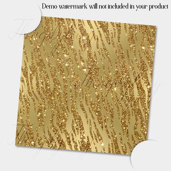 16 Seamless Gold Glitter Animal Skin Prints Digital Papers
