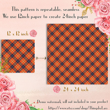 16 Seamless Orange and Green Tartan Digital Papers