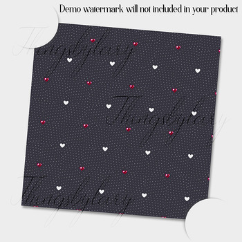 16 Seamless Red and Gray Love Valentine Digital Papers