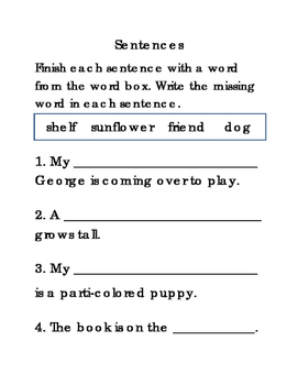 16 Sentences Set 1 Fill in Blanks Writing Reading Journal Supplement ELA 4pages