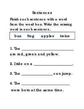 16 Sentences Set 3 Writing Journal Reading Journal Supplement ELA 4pages